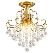 Modern Led Ceiling Light Black Gold Iron Lights Crystal Lamp E14 LED Bulbs Hanging Flower With Fixture K9