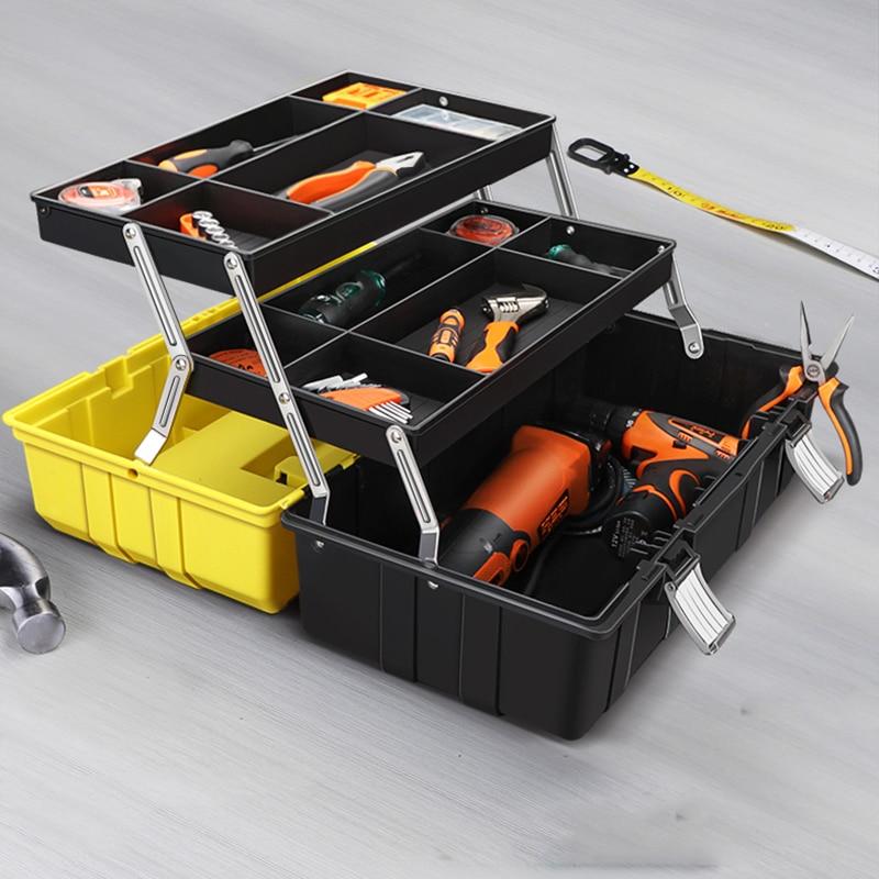 17inch Plastic Tool Box Multi Layer Storage Box Portable Large Tool Case Hardware Toolbox Car Repair Thicken Anti-fall Toolbox