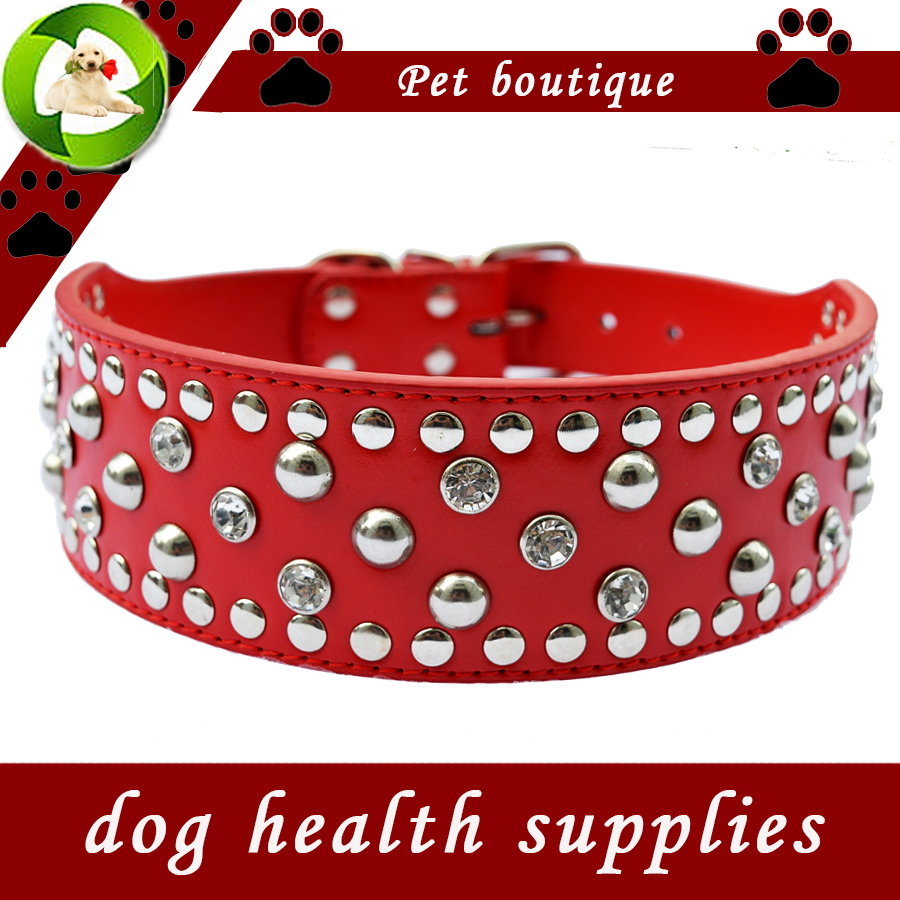 Ny Pitbull Studded Dog Collar Lead 2 tums breda Pu Leather Collars För Hundar Stora Pet Products Justerbar Buckle Red Black Pink