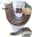 De Metal Multicolor de cristal collar de la boda de nigeria perlas africanas sistemas de la joyería Z718