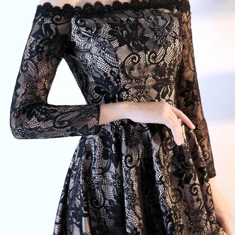 SOCCI בסוף השבוע אלגנטי ארוך שרוול שמלה לנשף 2018 חדש גבוהה נמוך שחור תחרה נשים פורמליות מסיבת חתונת שמלות כבוי כתף שמלות