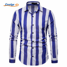 Covrlge Plus Size Shirts New Casual High Quality Men Shirt Mens Dress Slim Fit Plaid Long Sleeve Camisas MCL208