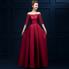 2016 Elegant Boat Neck Half Sleeves Bridesmaid Dresses Floor-Length Wine Red Satin Long Party Dresses For Wedding