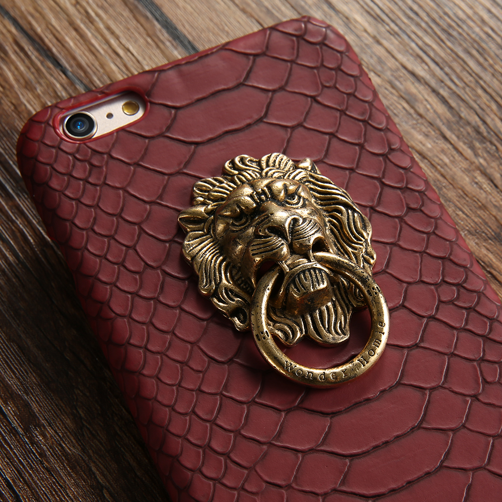DOEES Luxury Case Lion Head Snake Skin Phone Cover With Finger Ring For iPhone 7 8 6 6S X 10 Mobile Phone Holder Stand For Apple