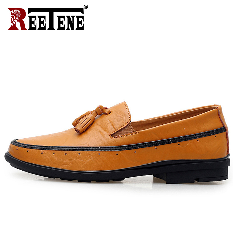 REETENE High Quality Leather Men Loafers Men Dress Shoes Casual Driving Shoes Men Genuine Leather Men Flats Chaussure fashion casual driving shoes genuine leather loafers men shoes 2016 new men loafers luxury brand flats shoes men chaussure page 5