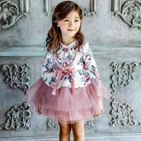 2016 Spring Summer Girls Dresses For Girls Colorful Floral Printed Princess Wedding Party Dress Children Kids