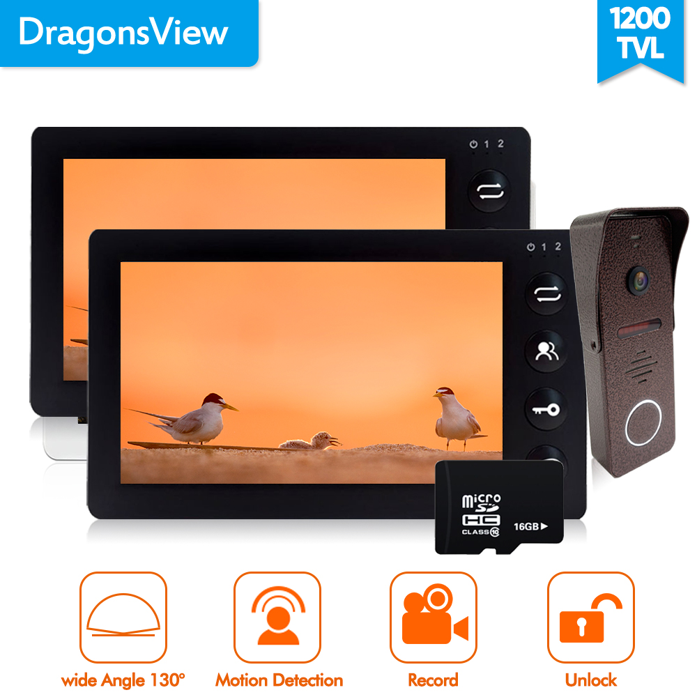 Dragonsview Black Wired  Video  Door Phone Doorbell Intercom System 7 Inch Wide Angle Picture /Video Record Day Night Vision
