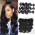 Mocha Malaysian Virgin Hair Body Wave 3 Bundles With Lace Frontal Closure With Bundles 13X4 West Kiss Virgin Hair With Bundles