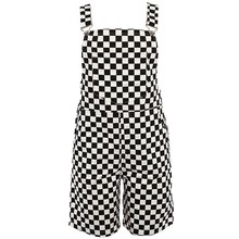 27d33ff8b828 Checkerboard Overalls Shorts Women Casual Streetwear Harajuku Romper  Jumpsuit Backless Strap Checkered Black White Playsuit(