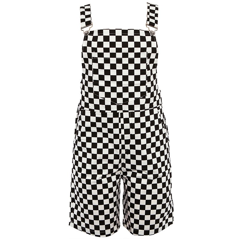 Checkerboard Overalls Shorts Women Casual Streetwear Harajuku Romper   Jumpsuit   Backless Strap Checkered Black White Playsuit