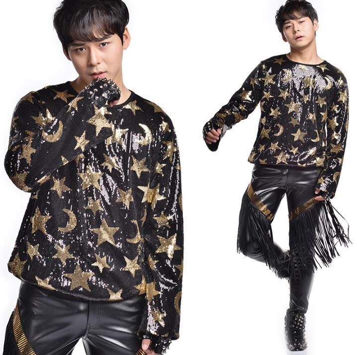 Mode populaire punk slim sexy paillettes t-shirts hommes à manches longues t-shirt adolescent chemise hommes personnalité scène chanteur danse