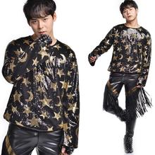 Popular fashion punk slim sexy Sequins t shirts men long sleeve - shirt teenage mens personality stage singer dance