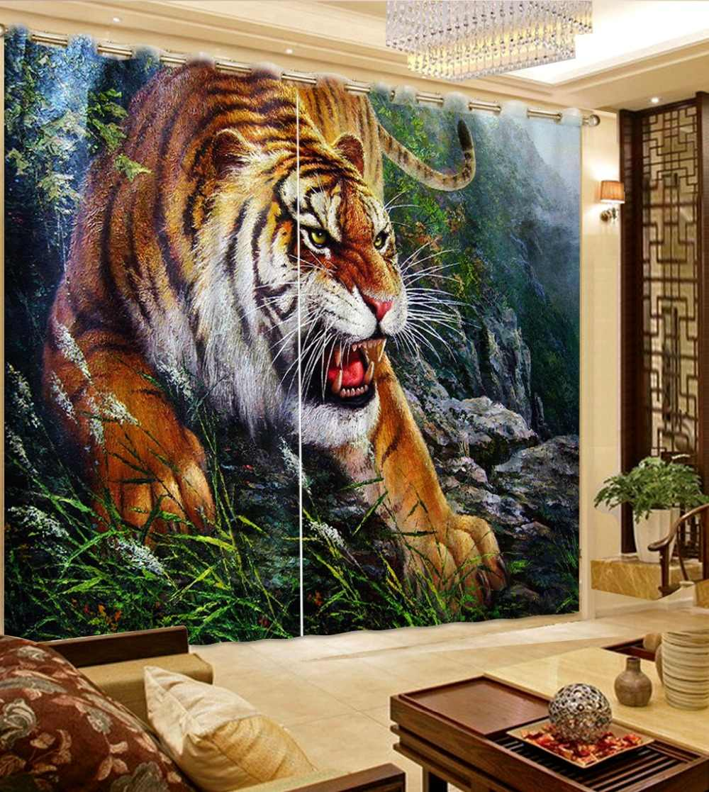 Luxury Blackout 3D Window Curtains For Living Room Bedroom children curtains tiger curtains