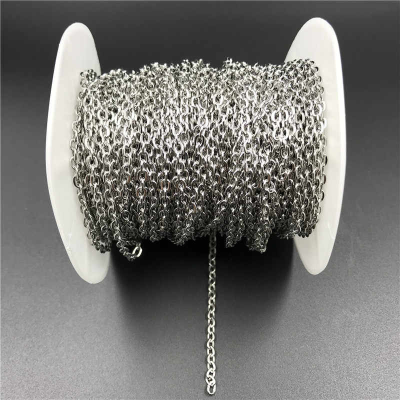 10meters/roll Width 2mm 3mm Stainless Steel Necklaces Chains Bulk Metal Link Chain for Bracelets Findings Diy Jewelry Making