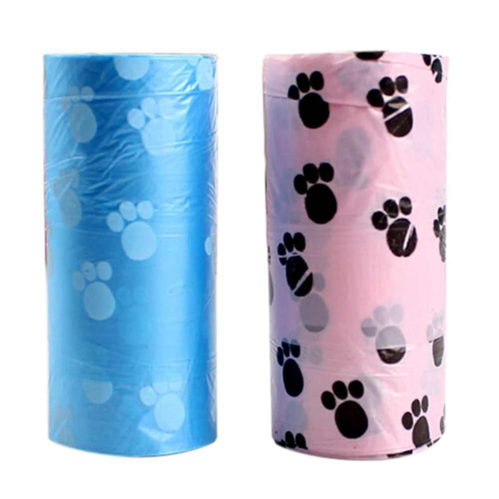 Venda quente 1 Rolo = 15 PCS Prático Doggy Bag Degradável Pet Waste Poop Bag Com Impressão Cão