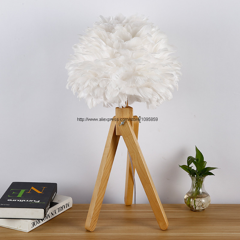Aliexpress.com : Buy Nordic White Feather Globe Wood Table