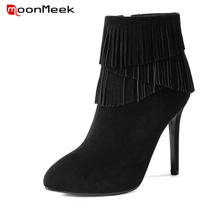 MoonMeek 2018 fashion fringe zipper ankle boots high quality suede leather boots sexy pointed toe autumn winter ladies bootsMoonMeek 2018 fashion fringe zipper ankle boots high quality suede leather boots sexy pointed toe autumn winter ladies boots