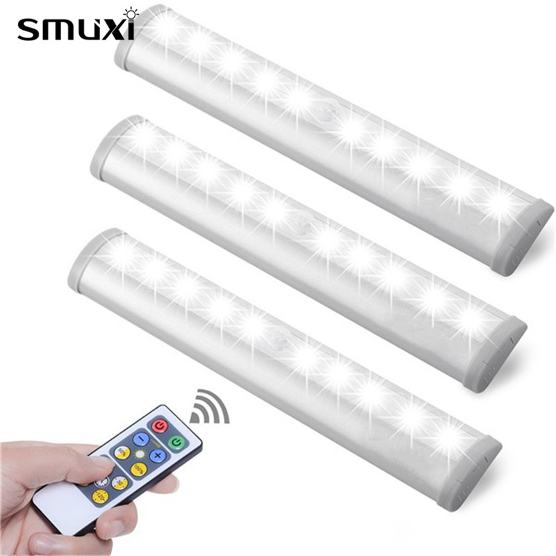 Smuxi Night Light White/Warm White 10 LED Motion Sensor Light AAA Battery Powered Remote Control Dimming Cupboard Cabinet Lamps white