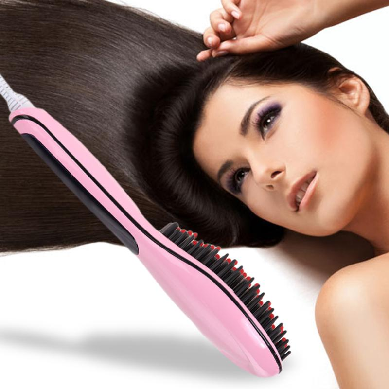 Fast Hair Straightener Comb Hair Electric Brush Comb Irons Auto Straight Hair Comb Brush Hair Straightening Comb 2 in 1 portable multifunctional anti scald fast hair straightener comb hair curler brush electric straightening irons comb