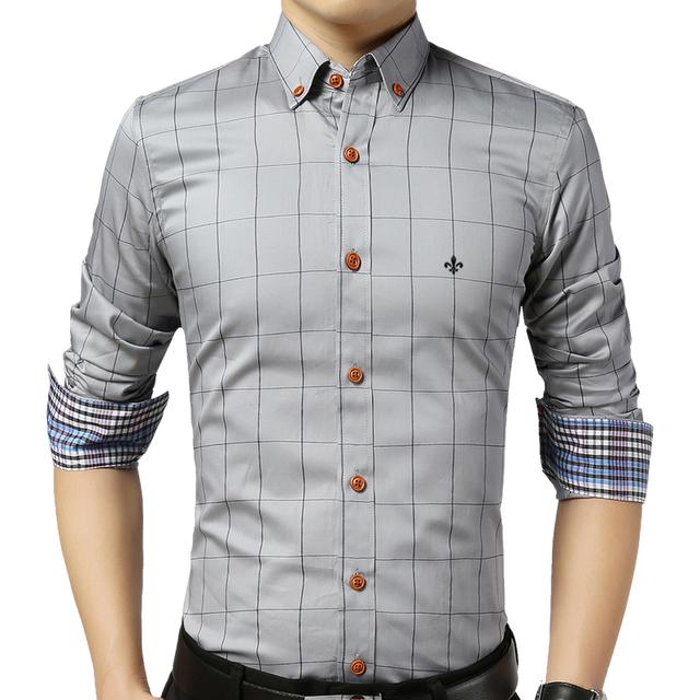 DUDALINA Shirt Male Plaid Without Pocket Men Clothes Slim Fit Men Long Sleeve Shirt Men Casual Men Shirt Social Plus Size M-5XL