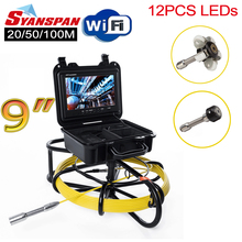 "All in One SYANSPAN 9"" Wireless Wi Fi Pipe Inspection Video Camera,Drain Sewer Pipeline Industrial Endoscope with Meter Counter"