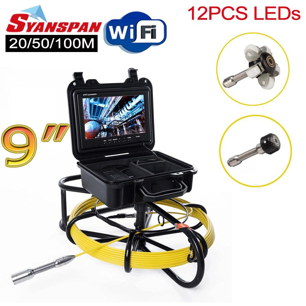 """Caméra vidéo d'inspection de tuyau Wi-Fi sans fil tout-en-un SYANSPAN 9 """", Endoscope industriel de canalisation d'égout de Drain avec le compteur de mètre"""