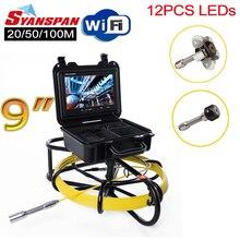 """올인원 syanspan 9 """"무선 wi fi 파이프 검사 비디오 카메라, 배수 하수도 파이프 라인 산업용 내시경 (미터 카운터 포함)"""