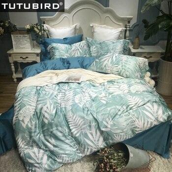 Luxury Egyptian bedding set blue leaf print 100% cotton bedlinen sheets Satin duvet cover pastoral princess bedspread