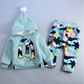 Winter girls clothing sets keep warm with hat children's wear cotton casual tracksuits kids clothes sports suit hoodie+Pants
