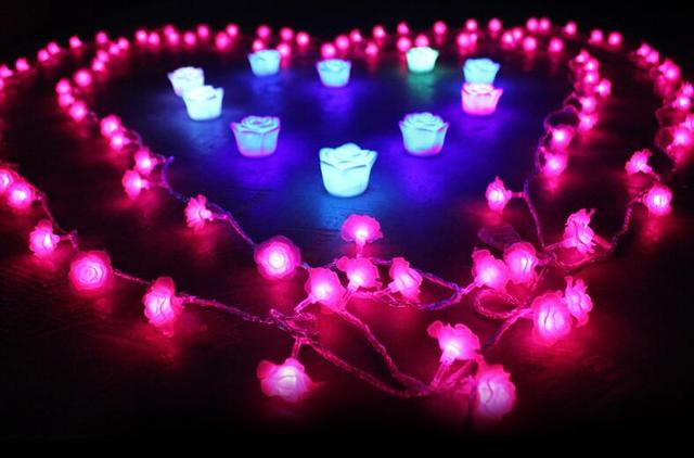 free ship 4m 40 string lights rose flower string light partyfairydecor