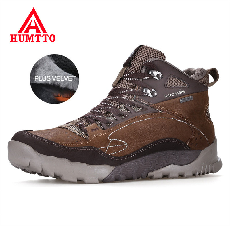 HUMTTO Autumn Winter Genuine Leather Snow Boots Men New Keep Warm Work Safety Shoes Mens Lace-up Luxury Brand Man Ankle Boots new womens ankle boots spring autumn cow leather shoes handmade brand women motorcycle boots winter keep warm snow boots