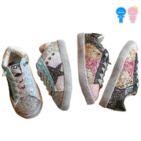 Spring Autumn Bling Glitter Pantacle Star Lacing Slip On Baby Girls Skate Shoes Boys Kid Flats