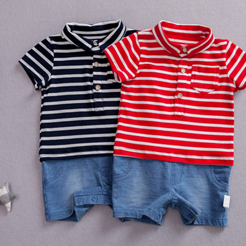 Baby Rompers Leisure Baby Boys Striped Jumpsuits Cotton Short Sleeve Outfits Infant Todd ...