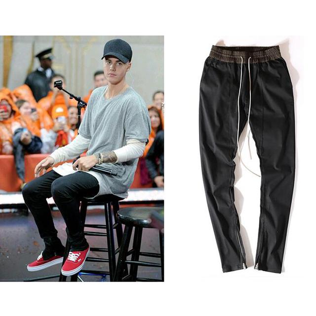 Justin Bieber Calça de Corpo Inteiro Dos Homens Zíper Lateral Slim Fit Calças Basculador casuais Hip Hop Dos Ganhos Moletom Temor de Deus calças
