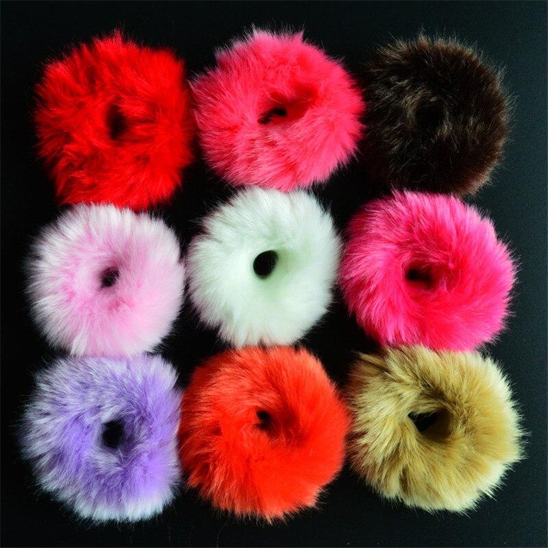 Резинки для волос резинка для волос Милые эластичные резинки для волос для девочек, искусственный мех, резиновое кольцо, веревка, пушистый бант аксессуары для волос, пушистая резинка на голову - Цвет: Random Color