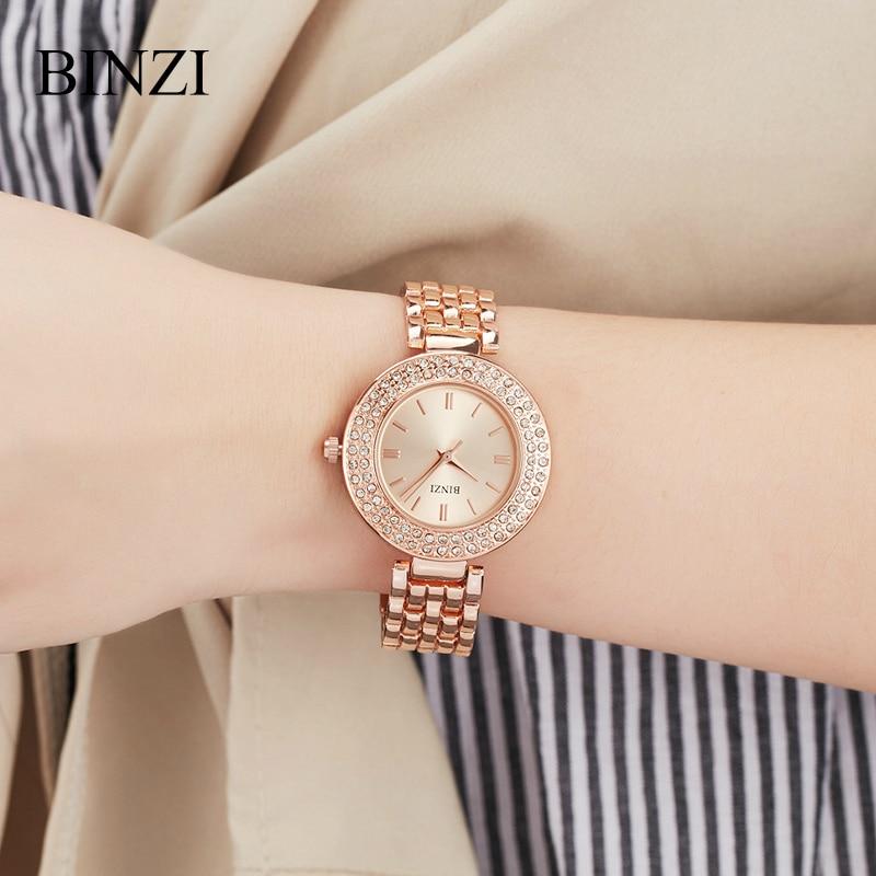 BIZNI часы для женщин Роскошные Роза цвета: золотистый, серебристый водостойкие 2018 алмаз горный хрусталь браслет женские наручные часы relogio