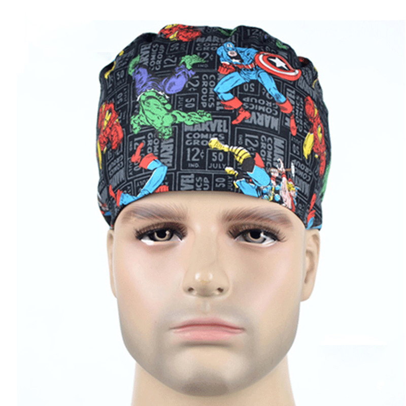 Male Doctor Surgical Cap Anime Print Scrub Cap Pet Grooming Doctor Work Cap Cotton Medical Use Doctor Accessories Nurse Cap