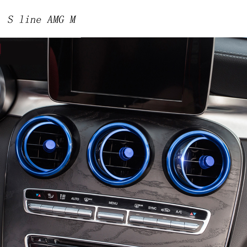 Car-styling AC Outlet Ring Decoration Air Conditioning Vents Trim Stickers Cover For Mercedes Benz C Class W205 GLC 180 200 260