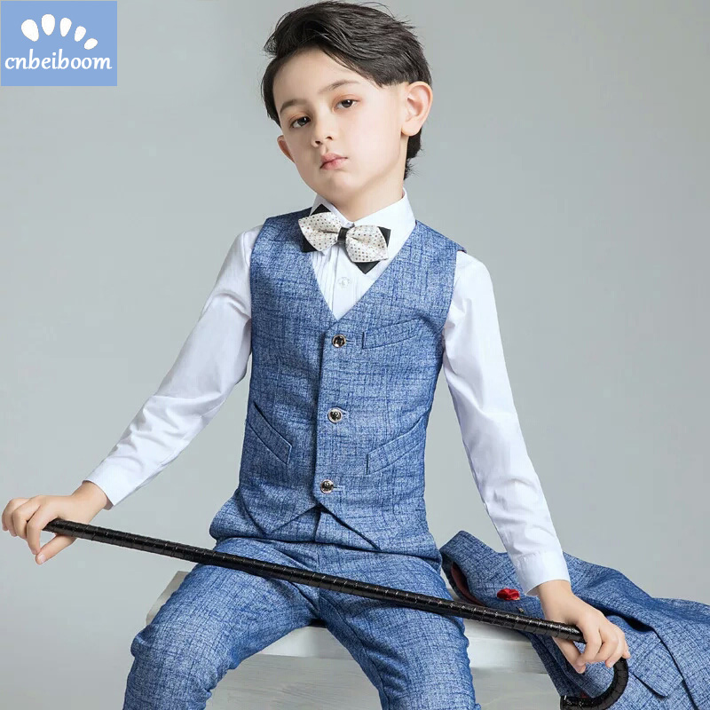 Boy Suit Catwalk Show Host Birthday Children Suit children Enfant Garcon Mariage Blue Blazers Boys Wedding party clothing set