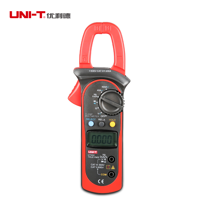 UNI T Digital UT204 Clamp Meter AC DC Multimeter TRMS Auto Range Current Pincers 600V Voltmeter 400A Ammeter Frequency Tester auto digital clamp meter mastech ms2108a pincers ac dc current voltage capacitor resistance tester aimometer multimeter amper