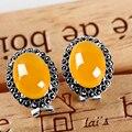 Nova Pure 925 Brincos de Prata Esterlina com Ágata Amarelo Presente da Senhora