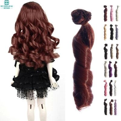 15cm * 100cm שיער עבה קרלי גל פאות עבור 1/3 1/4 1/6 בובות BJD אביזרים חום חום חאקי שחור