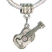 100 Pcs Ancient Silver Acoustic Guitar Music Musical Instrument Charm Pendant Fit European Bead Bracelet 30.5 mm x 24