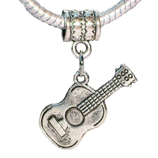 2d3aabef8 100 Pcs Ancient Silver Acoustic Guitar Music Musical Instrument Charm  Pendant Fit European Bead Bracelet 30.5 mm x 24 mm