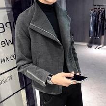 Windbreaker men's short paragraph 2018 autumn and winter new Korean version of the trend handsome coat men's British woolen coat