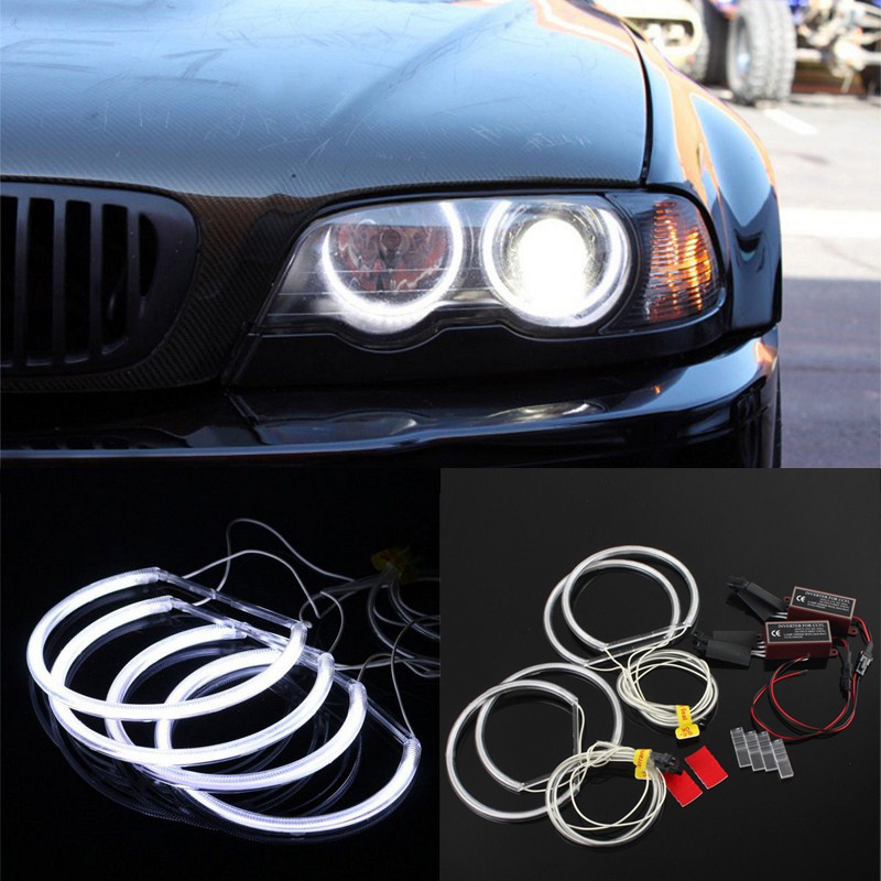 4x 131mm 146mm CCFL Angel Eye Halo Rings LED Light Set White Non-Projector For BMW E46 3 Series High brightness efficiency (1)