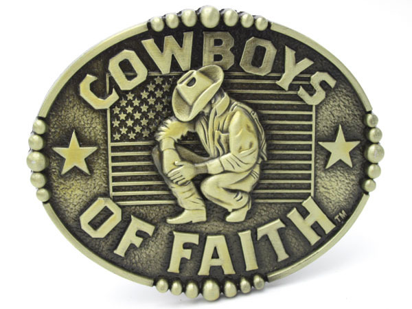 Bronze Cowboys Of Faith Western Belt - Arts, Crafts and Sewing