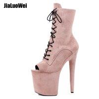 Top sale Faux Suede Platform Women men Drag high heeled shoes boots erotic lap dancing ankle boots