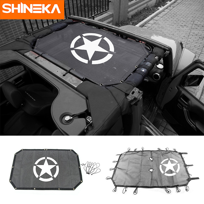 Shineka cobertura de pára-sol superior do carro telhado proteção à prova uv net para jeep wrangler jk 2 portas e 4 porta acessórios do carro estilo