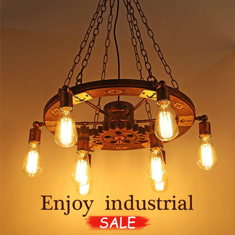 vintage Retro industrial style iron pendant light rotate wooden gear dining living room bar hanging light lamp loft style vintage pendant lamp iron industrial retro pendant lamps restaurant bar counter hanging chandeliers cafe room
